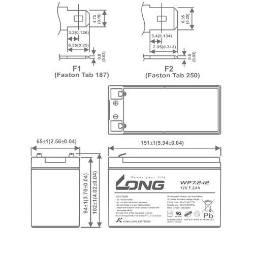 KÍCH THƯỚC AC QUY LONG 12V 7.2AH -WP7.2-12